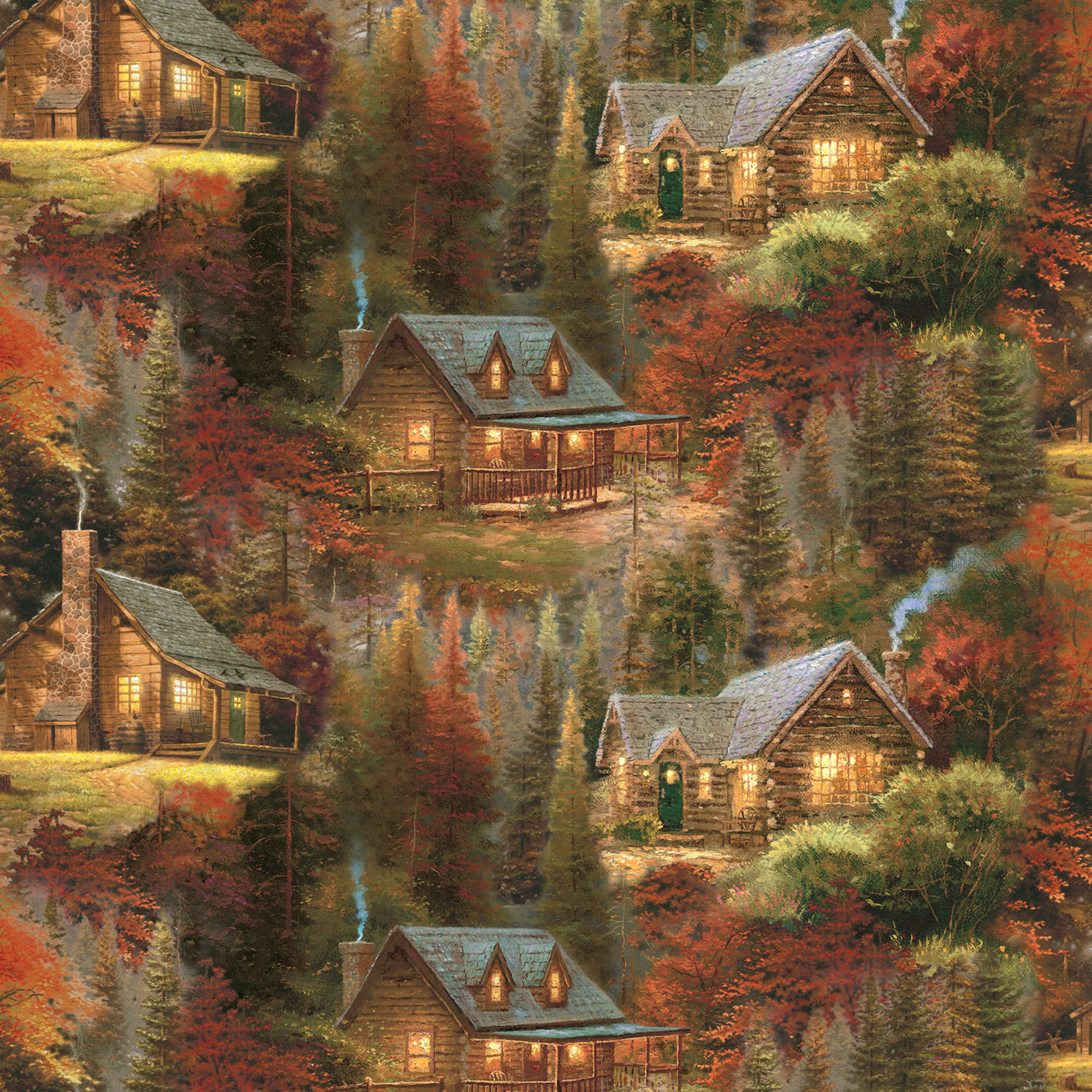 David Textiles Cotton Precut Fabric Thomas Kinkade Autumn Cabins 1 Yd X 44 Inches