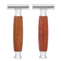 Yosoo 2 Colors Wooden Men Classic Double Edge Razor Hair Removal Shaving Beard Safe , Wooden Razor, Men Razor