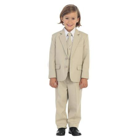 Boys Khaki Jewels & Gents Jacket Vest Shirt Tie Pants 5 Pc Suit](Cheap Boys Suit Jacket)