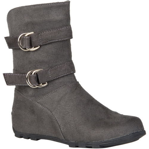 Brinley Co. Girl's Buckle and Strap Accent Mid-calf Boots