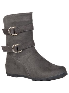 c1aff9707a68 Product Image Girl s Buckle and Strap Accent Mid-calf Boots