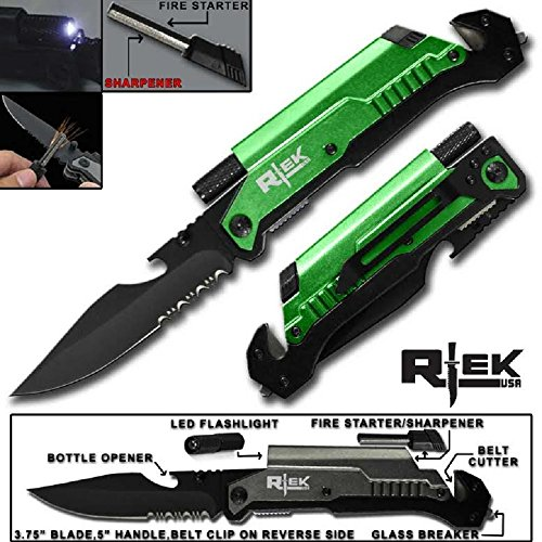 """9"""" Tactical Spring Assisted Red Survival 7 in 1 Rescue Pocket Knife LED Light Fire Starter Blade Sharpener Bottle Opener Glass Breaker Belt Cutter (Gold)"""
