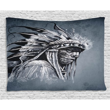 Native Americans Feathers - Native American Tapestry, Hand Drawn Tribe Chief Head with Feathers Vintage Style Ethnic Art, Wall Hanging for Bedroom Living Room Dorm Decor, 60W X 40L Inches, Grey Black White, by Ambesonne