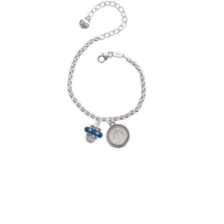 Crystal Navy Blue Spinner Nevertheless She Persisted Engraved Bracelet