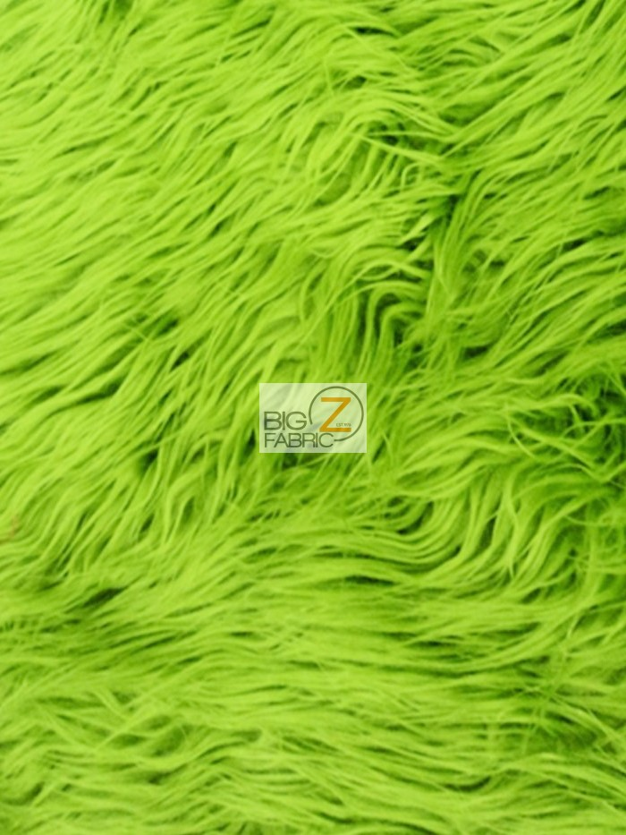 """BTY 60/"""" Lime Green Mongolian Long Pile Faux Fur Apparel Crafting Fabric"""