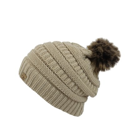 Halo Ribbed Slouch Beanie Cap Hat With Fur Pom