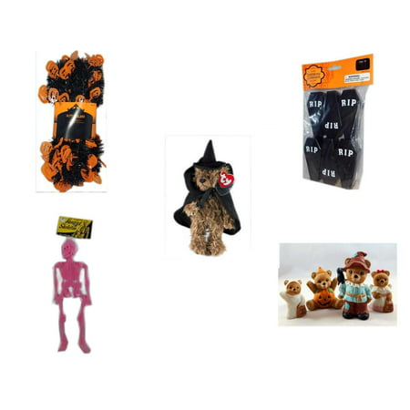 Halloween Fun Gift Bundle [5 Piece] -  Black & Orange Pumpkin Garland 10 ft. - Tombstone Containers Party Favors 6 Count - Ty Attic Treasures