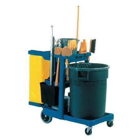 Cleaning Cart,Blue,Plastic RUBBERMAID FG617388BLUE