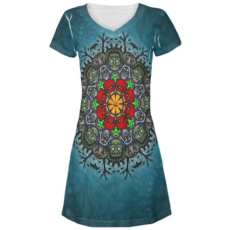 Halloween Classic Movie Monster Mandala All Over Juniors Beach Cover-Up Dress (All Halloween Movie Covers)