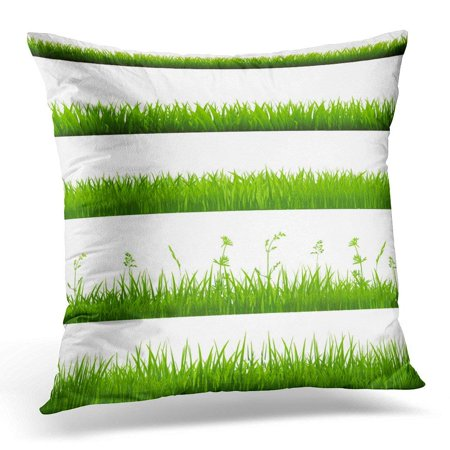 CMFUN Green Arrowhead Grass Borders Big White Blade Pillow Case Pillow  Cover 20x20 inch