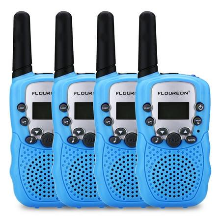 FLOUREON Walkie Talkies Two Way Radios 22 Channel 3000M (MAX 5000M open field) UHF Outdoor Long Range Handheld Talkies Talky for NERF Kids Adults Blue 4Packs