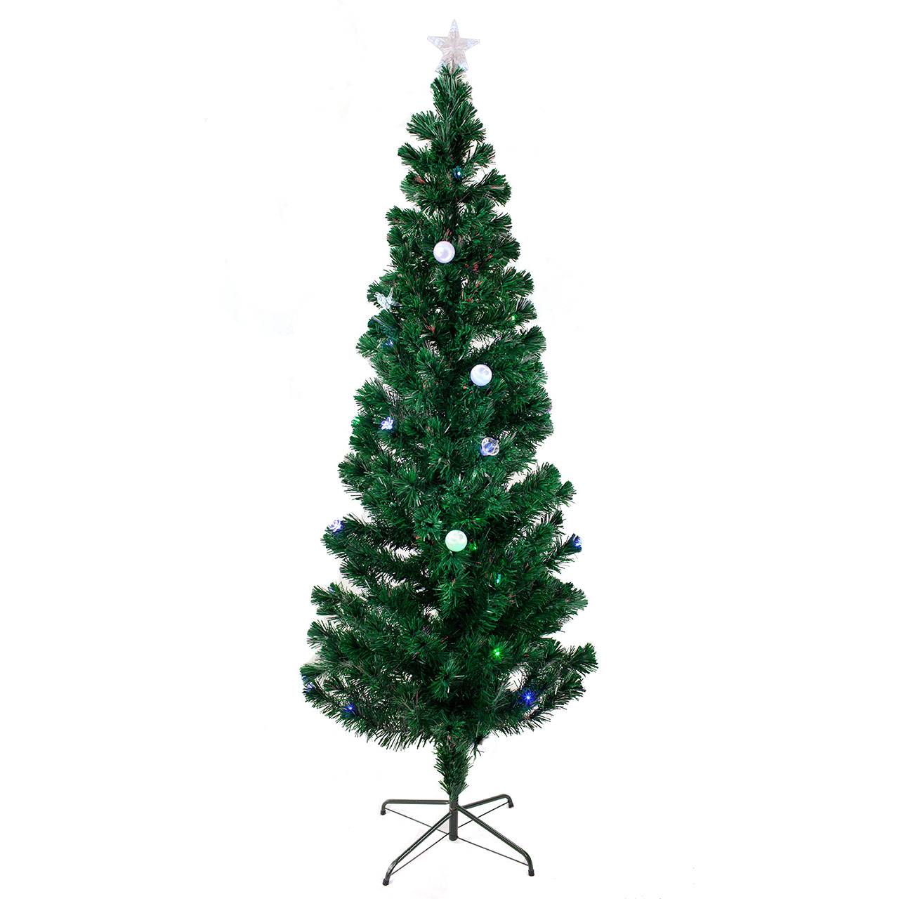 6.5 FT PRE-LIT MULTI COLOR LED & FIBER OPTIC CHRISTMAS TR...