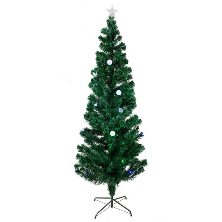 7 FT PRE-LIT MULTI COLOR LED & FIBER OPTIC CHRISTMAS TREE - BRIGHT STAR STAND ()