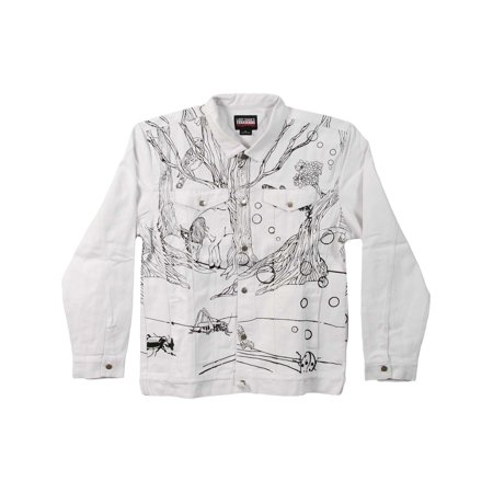 dab189e2161 Lady Gaga - Lady Gaga Men's Art Rave Denim Jacket Medium White - Walmart.com