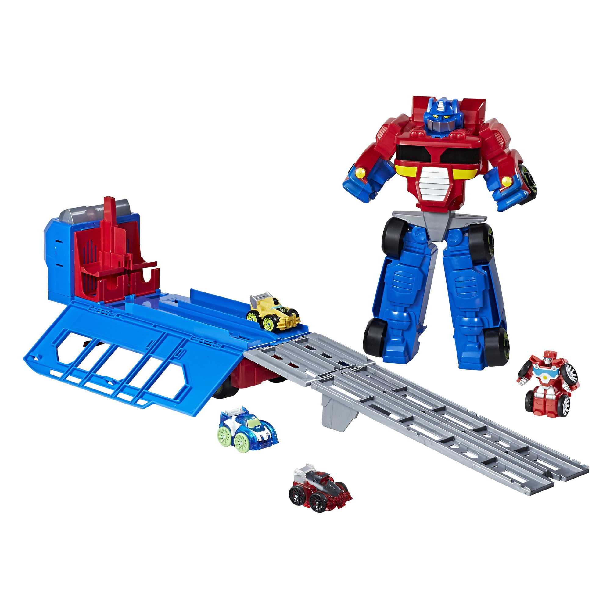 Playskool Heroes Transformers Rescue Bots Flip Racers Optimus Prime Race Track Trailer by Hasbro