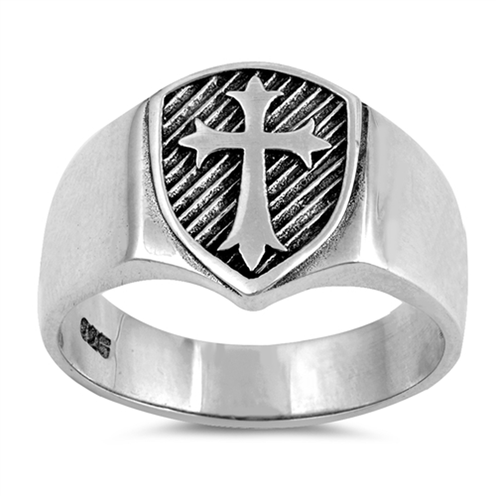 Princess Kylie Oxidized Sterling Silver Cross Designer Ring