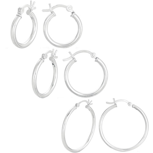Sterling Silver 3-Piece 15mm, 20mm and 30mm Polished Hoop Earring Set