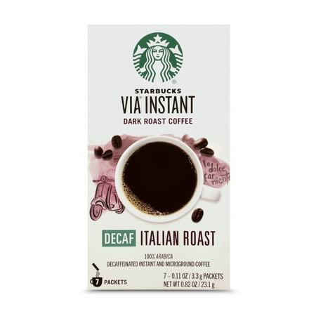 Starbucks VIA Instant Decaf Italian Roast Dark Roast Coffee (1 box of 7