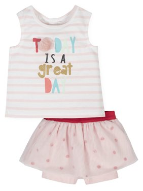 Gerber Toddler Girls Tank Top & Bike Shorts, 2-Piece Outfit Set