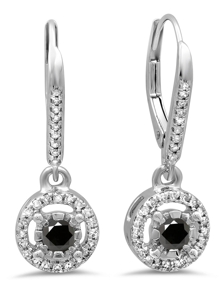 14K White Gold Ladies Cluster Halo Style Dangling Drop Earrings
