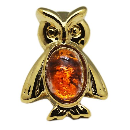 Small Golden Owl Lapel Pin With Amber Bead Stomach (Cheap Lapel Pins)