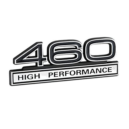 """460 7.5 Liter High Performance Engine Emblem in Chrome & Black Trim - 4"""" Long, Chrome plated featuring black lettering and black numbers By Yates Performance"""