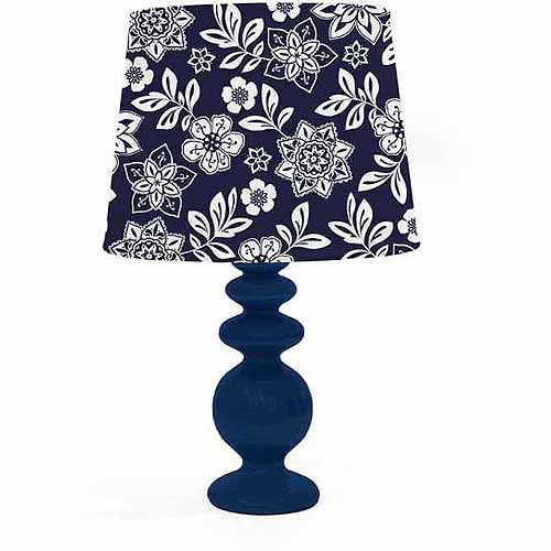 Floral Print Porcelain Lamp with CFL Bulb