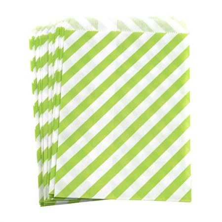 Candy Stripe Paper Treat Bags, 7-inch 25-Piece, Apple Green