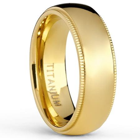 Millgrain Comfort Fit Band (Goldtone Titanium Wedding Band Engagement Ring, Milgrain Edges Comfort Fit,)