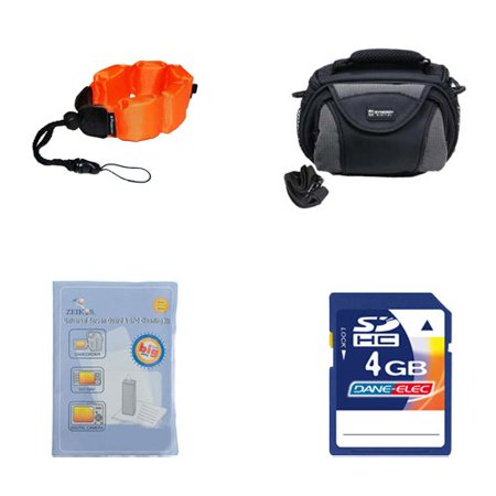 Coleman Memory - Coleman CVW16HD Camcorder Accessory Kit includes: KSD4GB Memory Card, ZE-FS10-OR Underwater Accessories, SDC-26 Case, ZELCKSG Care & Cleaning