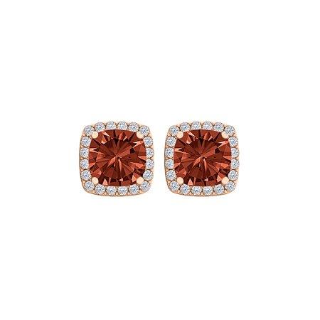 Square Garnet and CZ Fashion Halo Stud Earrings Vermeil - image 2 de 2