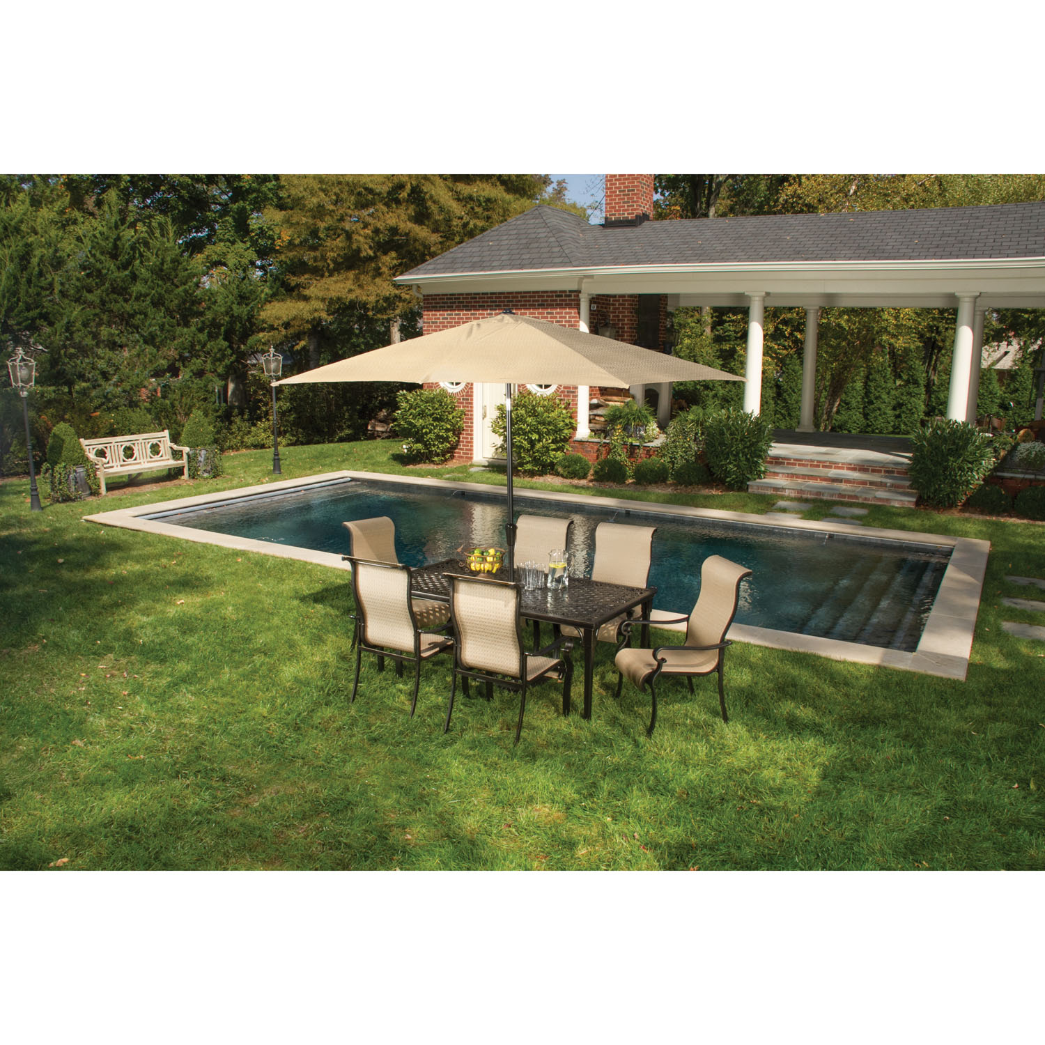 Hanover Brigantine Aluminum Outdoor Dining Set with 6 Contoured-Sling Chairs, Cast-Top Table, Umbrella and Stand