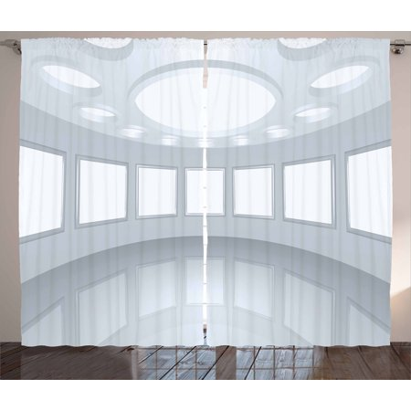 Modern Decor Curtains 2 Panels Set, 3D Visualization of Futuristic Interior Empty Picture Gallery Architecture, Window Drapes for Living Room Bedroom, 108W X 90L Inches, White Coconut, by