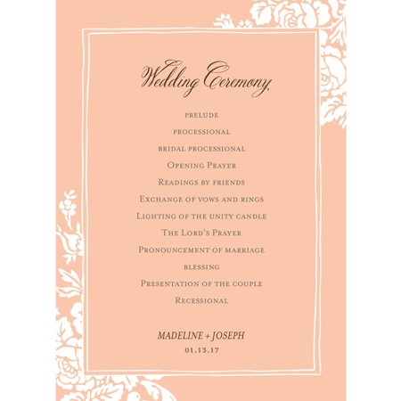 Classic Floral Deluxe Program Card - Fan Wedding Programs