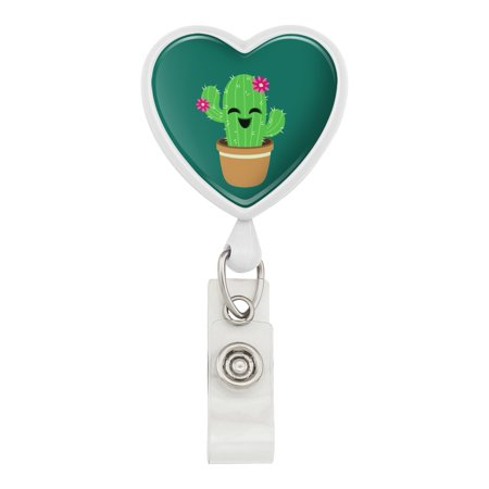 Cute Cactus in Pot with Pink Flowers Heart Lanyard Retractable Reel Badge ID Card Holder - White