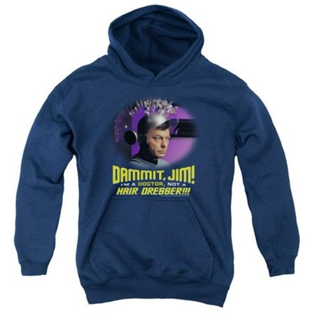Trevco Star Trek-Not A Hair Dresser - Youth Pull-Over Hoodie - Navy, Large