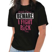 Brisco Brands Breast Cancer  I Fight Back BCA Lady Short Sleeve T Shirt