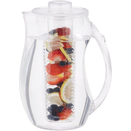 Fruit Infusion (Fruit Infusion Jug (Clear) BPA-Free Plastic, water Jug, Pitcher, infuser, 2.5L container Hot Cold, fruit, tea 10 cup)