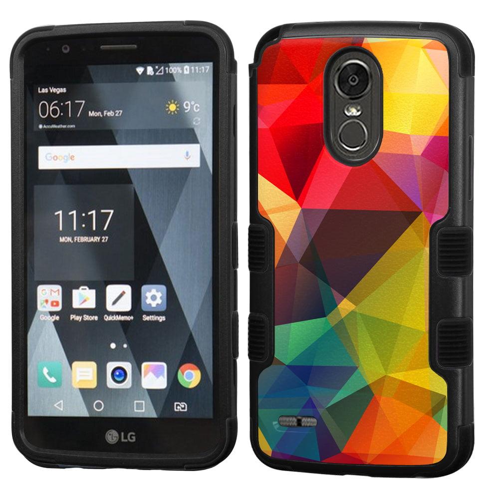 3-Layer Case for LG Stylo 3 / Stylo 3 Plus, OneToughShield ® Shock Absorbing Hybrid Phone Case (Black) - Polygon