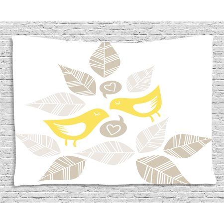 Grey and Yellow Tapestry, Abstract Modern Art Deco Inspired Birds and Leaves, Wall Hanging for Bedroom Living Room Dorm Decor, 80W X 60L Inches, Light Brown Marigold and White, by Ambesonne](Art Deco Walls)