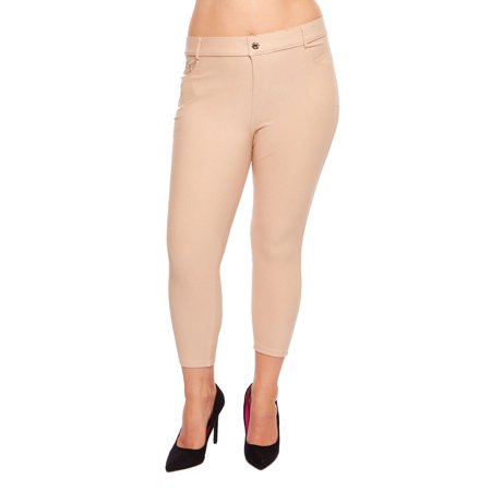 Womens Plus Size Basic 5 Pckt Capri Skinny Jegging Pants 817JN201P-3XL-Khaki