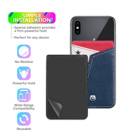 Cobble Pro Stick-On Genuine Leather Card Holder Adhesive Cell Phone Wallet for iPhone 11 / 11 Pro / 11 Pro Max XS X 8 7 6 6s Plus SE G6 G7 Samsung Galaxy S9 S9+ S8 S8+ S7 Note 8 J7 J3 Pittsburgh Black - image 2 de 6