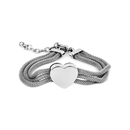 Polished Heart with Three Mesh Strands Stainless Steel Bracelet