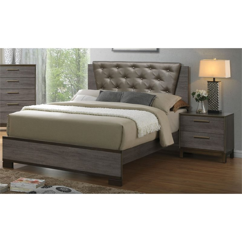 Furniture of America Charlsie 2 Piece Upholstered King Bedroom Set in Antique Gray