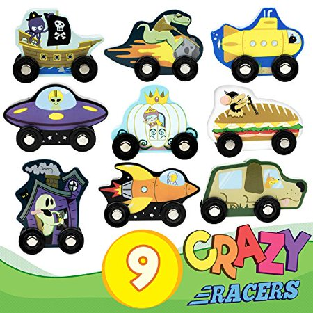 Imagination Generation Pull-Back Derby Racers   Wooden Friction-powered Race Cars
