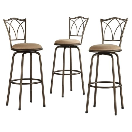 Weston Home Aidan Cross Back Adjustable Kitchen Bar Stool, Set of 3 Bar stools