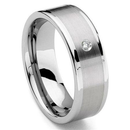 Tungsten Carbide 8MM Flat Diamond Wedding Band Ring w/ Brush Center Sz (Tungsten Carbide Mens Wedding Bands With Diamonds)