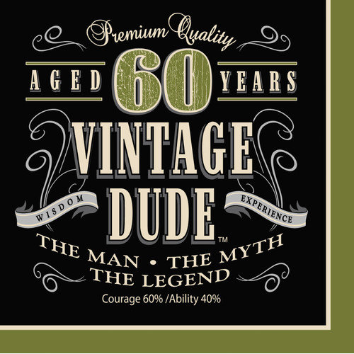Creative Converting Vintage Dude 60th Birthday Napkins (Set of 16)