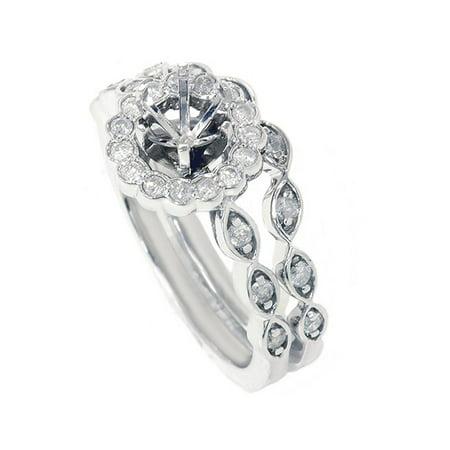 White Gold Semi Set - 1/2ct Vintage Diamond Ring Semi Mount Bridal Set 14K White Gold