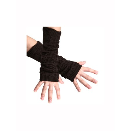 Style Fingerless Gloves (A418-D115 Unisex Coffee Color Textured Fingerless Style Arm Warmer Gloves F )